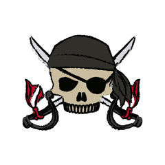 cartoon pirate skull hat patch eye with cross swords