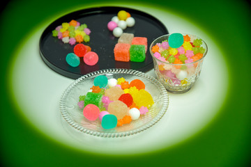 These are Japanese traditional sweets on the plate.
