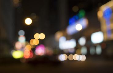 Abstract bokeh cityscape of street light