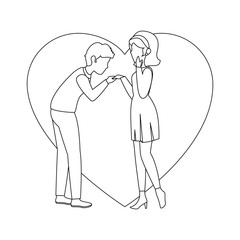 heart with couple in love icon over white background vector illustration