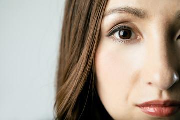 woman's eye closing up.