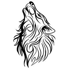 Wolf head howl design tribal tattoo vector