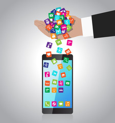 Hand loads and installs apps in smartphone
