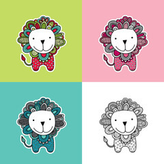 Cute and fun lion vector illustration with doodle mane, dots, swirls and a big smile in various colours.