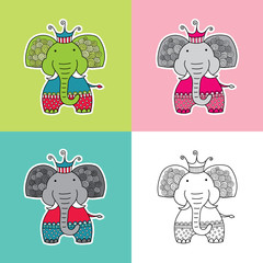 Cute and fun elephant vector illustration with a crown, swirls and a happy face in various colours.