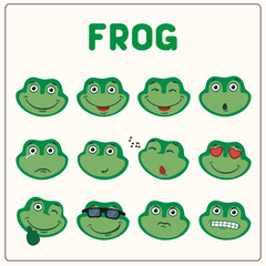 Emoticons set face of frog in cartoon style. Collection isolated funny muzzle frog with different emotion.