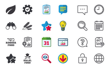 Natural food icons. Halal and Kosher signs. Gluten free. Chief hat with fork and spoon symbol. Chat, Report and Calendar signs. Stars, Statistics and Download icons. Question, Clock and Globe. Vector