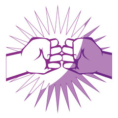 Hands with clenched fist icon over white background vector illustration