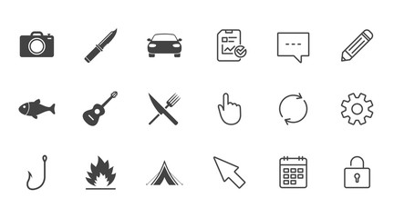 Camping travel icons. Fishing, campfire and tourist tent signs. Guitar music, fork and knife symbols. Chat, Report and Calendar line signs. Service, Pencil and Locker icons. Click, Rotation and Cursor