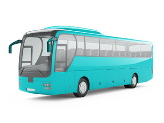 Blue big tour bus isolated on a white background. 3D rendering