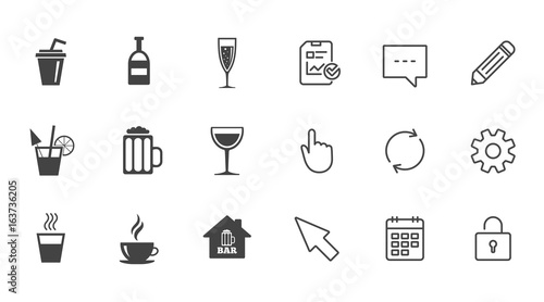 Coffee Tea Icons Beer Wine And Cocktail Signs Soft And Alcohol