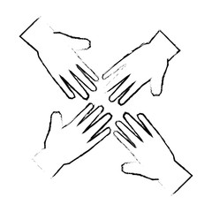 human hands icon over white background vector illustration