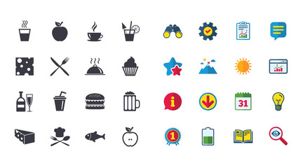 Set of Food and Drinks icons. Restaurant meal, Wine and Cheese signs. Burger, Coffee and Beer symbols. Calendar, Report and Browser window signs. Stars, Service and Download icons. Vector