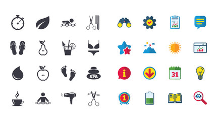 Set of Swimming pool, Spa and Hairdressing icons. Coffee, Cocktail and Apple signs. Water drop, Scissors and Hairdryer symbols. Calendar, Report and Browser window signs. Vector