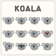 Emoticons set face of koala in cartoon style. Collection isolated funny muzzle koala with different emotion.