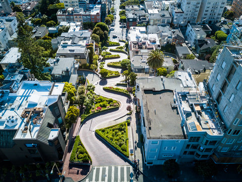 Aerial view of the Lombard street in San Francisco