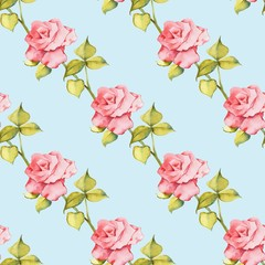 Floral seamless pattern. Watercolor background with roses