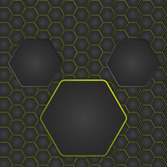 Abstract vector illustration with hexagonal structure and backlighting.