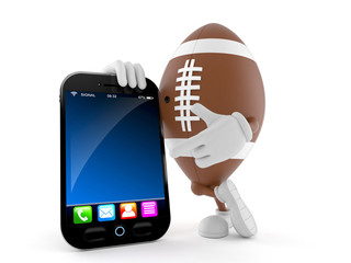 Rugby character with smart phone