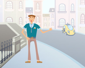 Young cartoon man catches a taxi on a city street. Vector illustration.