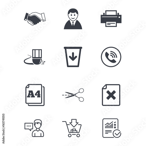 Office Documents And Business Icons Printer Handshake And Phone