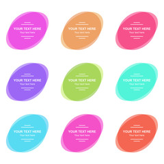 Set of vector colorful oval banners. Abstract vector shapes for design. Banners with sample text.