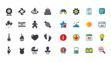 Set of Maternity, Pregnancy and Baby care icons. Video monitoring, Child and Pacifier signs. Footprint, Birthday cake and Newborn symbols. Calendar, Report and Browser window signs. Vector