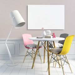 Delicate girlish interior, consisting of a dining area and a floor lamp. Poster mockup. 3d illustration