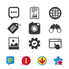 Social media icons. Chat speech bubble and world globe symbols. Hipster photo camera sign. Landscape photo frame. Browser window, Report and Service signs. Binoculars, Information and Download icons