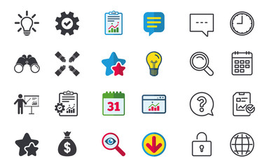 Presentation billboard icon. Dollar cash money and lamp idea signs. Man standing with pointer. Teamwork symbol. Chat, Report and Calendar signs. Stars, Statistics and Download icons. Vector