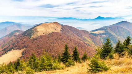Mountain ridges in the national park Mala Fatra, Slovakia, Europe.