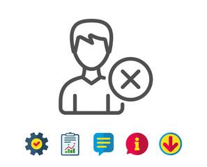 Remove User line icon. Profile Avatar sign. Male Person silhouette symbol. Report, Service and Information line signs. Download, Speech bubble icons. Editable stroke. Vector