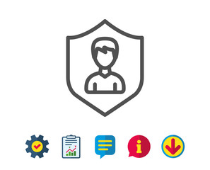 User Protection line icon. Profile Avatar with shield sign. Male Person silhouette symbol. Report, Service and Information line signs. Download, Speech bubble icons. Editable stroke. Vector