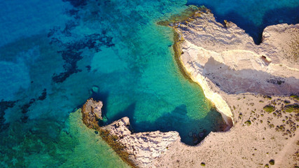 Canvas Prints Turquoise Aerial drone photo of famous caves near Pori beach, Koufonissi island. Cyclades, Greece