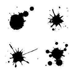 Set of black ink spots on white background. Vector illustration
