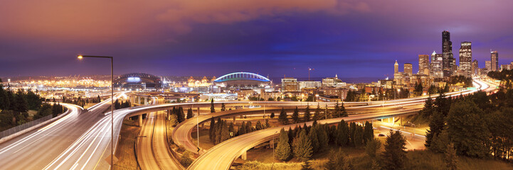 Traffic and skyline of Seattle, Washington, USA at night