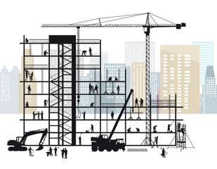 Große Baustelle mit Handwerkern beim arbeiten