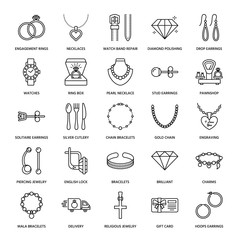 Jewelry flat line icons, jewellery store signs. Jewels accessories - gold engagement rings, gem earrings, silver chain, engraving necklaces, brilliants. Thin linear signs for fashion store.