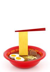 Japanese Ramen Noodle Soup 3D illustration vertical white background