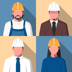 Silhouettes of people in hard hat for user profile picture. Avatars of construction workers. Engineering staff in flat design. Vector illustration.