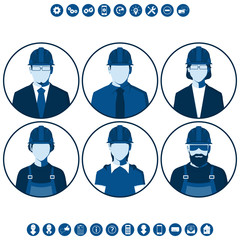 Flat silhouettes of construction workers. Round icons with male and female portraits of engineers isolated on white background. Set of vector avatars.