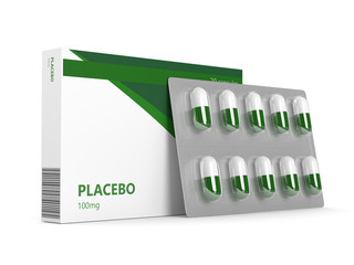3D render of placebo pills over white