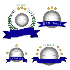 Abstract vector illustration logo handball, flying ball emblem, sporting background.