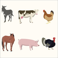 Set of farm animals.
