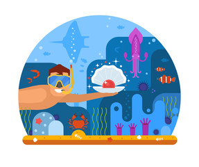 Pearl diving concept illustration with scuba diver finding shell on seabed. Underwater world scene with snorkeler man searching treasures on sea bottom among ocean life on coral reef background.