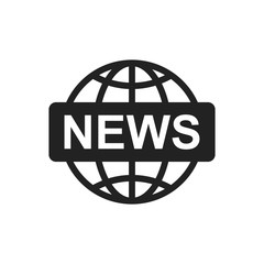 World news flat vector icon. News symbol logo illustration.