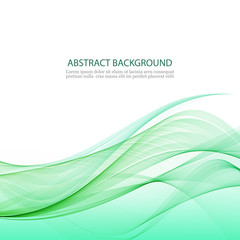 Abstract background with green waves