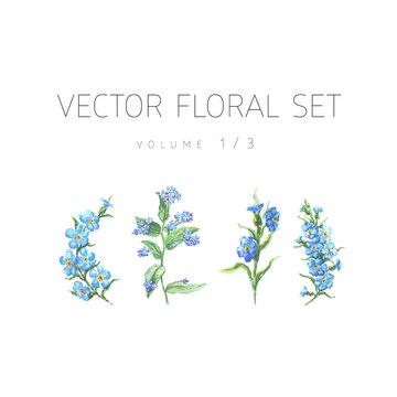 Bright watercolor floral vector set