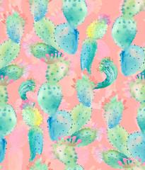 Watercolor cactus seamless pattern