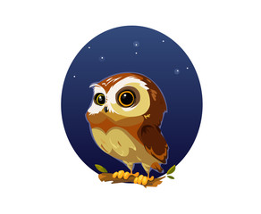 Digital vector funny comic cartoon owl bird with big eyes in the night sitting on a tree, hand drawn illustration, abstract realistic flat style